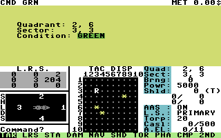 Star Fleet I: The War Begins! Commodore 64 Starting a mission.