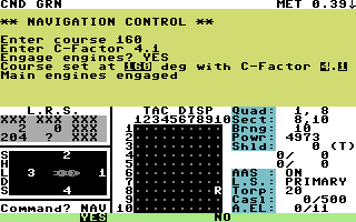 Star Fleet I: The War Begins! Commodore 64 Nav control.