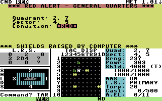 Star Fleet I: The War Begins! Commodore 64 Red Alert! Krellen ships are in this sector!