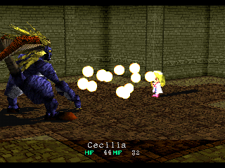 Wild Arms PlayStation Cecilia attacks a boss enemy with a fire spell. The boss enemy doesn't seem to mind the low polygon count
