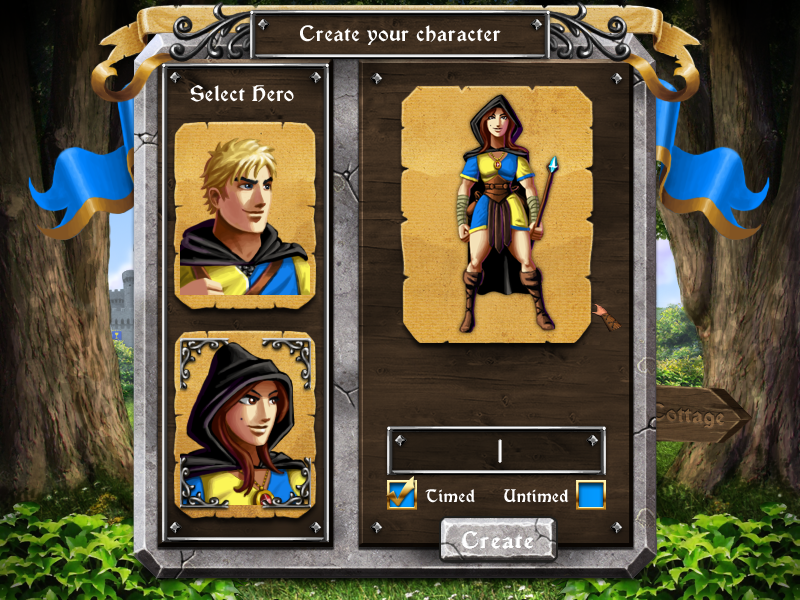 Herofy Windows Choose and name your character and choose timed or untimed mode.