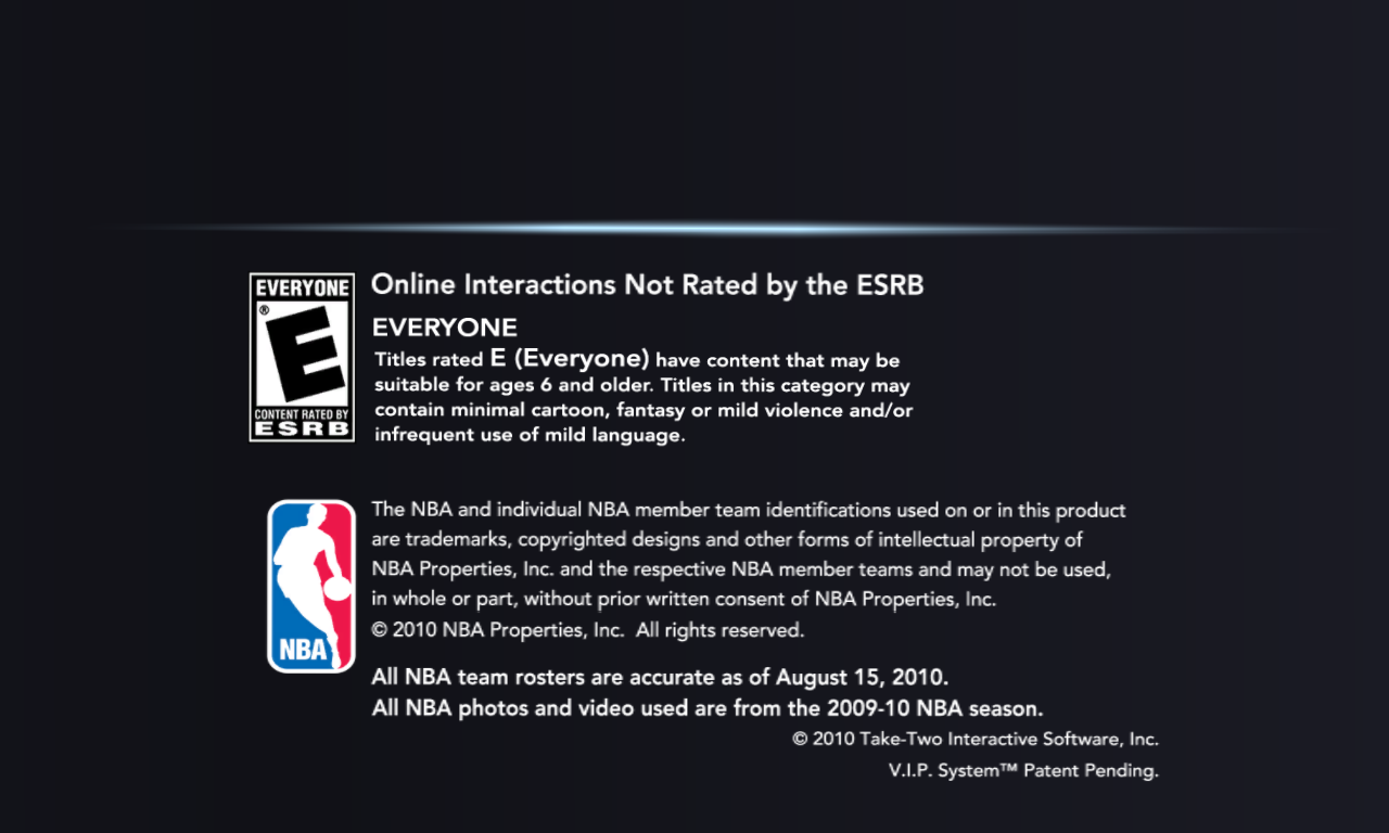 NBA 2K11 Windows Legal screen