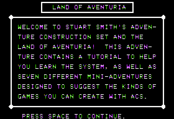 Stuart Smith's Adventure Construction Set Apple II Land of Adventuria - Introduction.