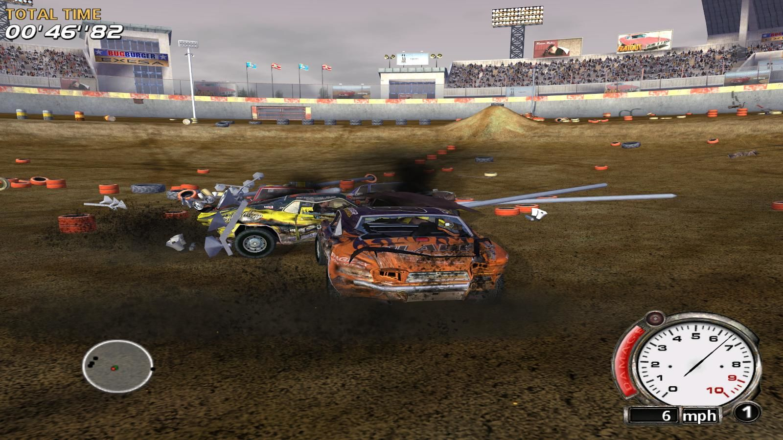 FlatOut Windows Last destruction derby which gets unlocked provides a great opportunity to grind money.