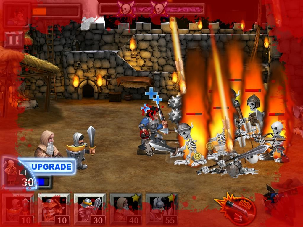Army of Darkness: Defense iPad Ash's health is low but calls Flaming Arrows down on the Deadites