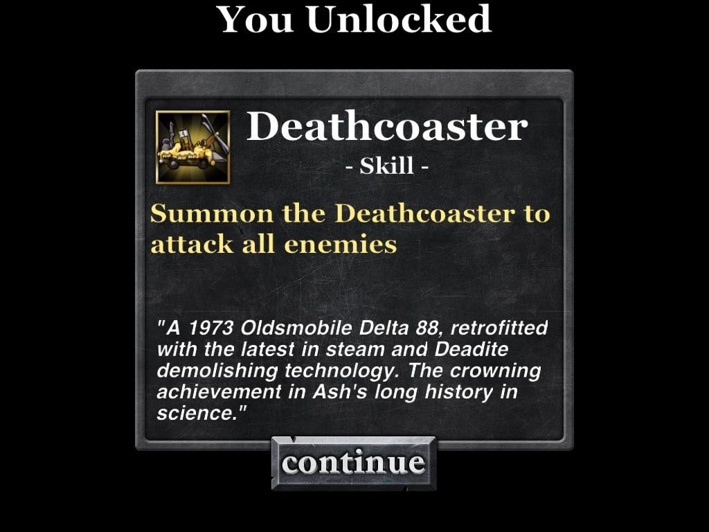 Army of Darkness: Defense iPad Unlocked the Deathcoaster - Ash's 1973 Olds Delta 88