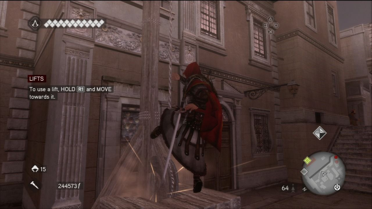 Assassin's Creed: Brotherhood PlayStation 3 New entry to the franchise are lifts which will quickly lift you all the way to the roof.