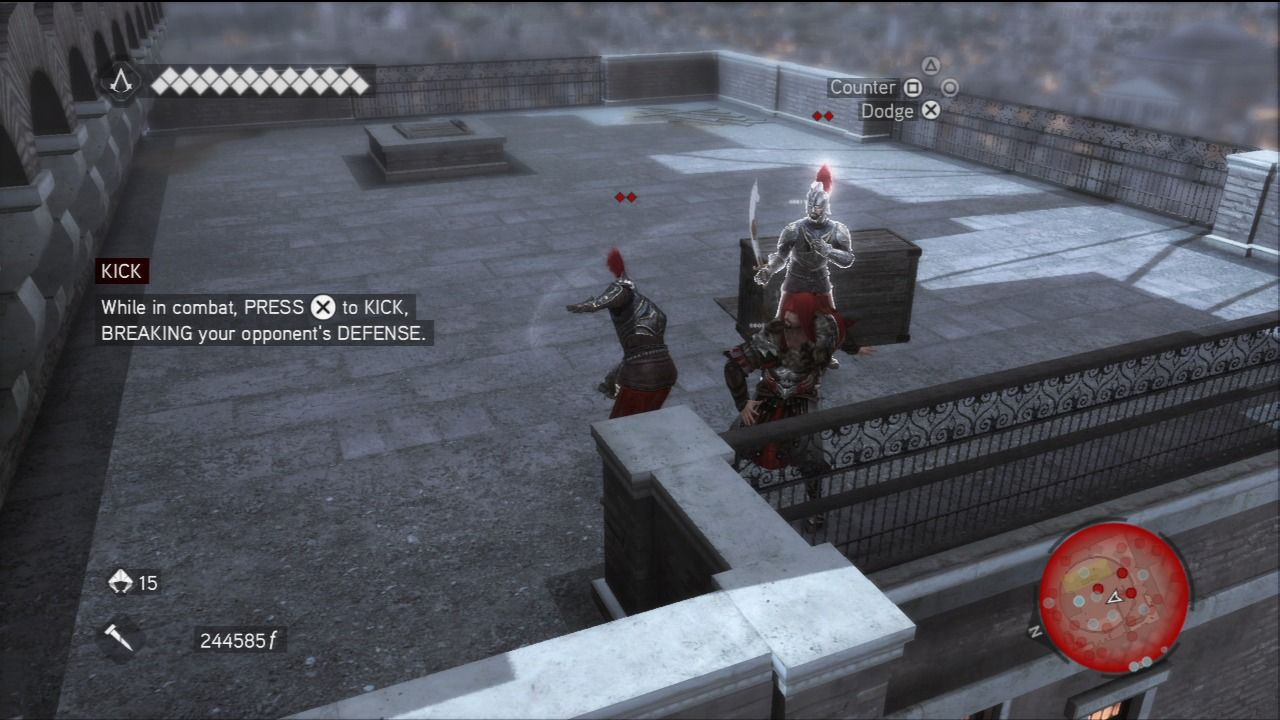 Assassin's Creed: Brotherhood PlayStation 3 You won't be able to parry to every enemy, so use evasion and boot kick.