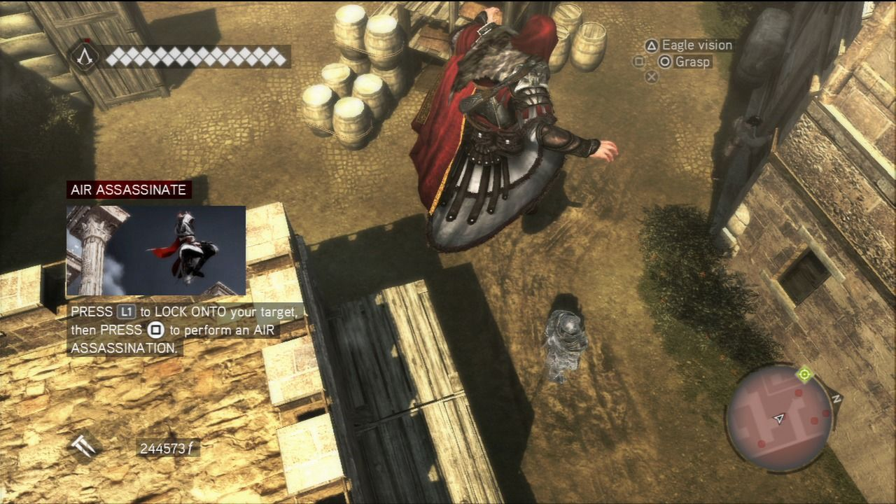 Assassin's Creed: Brotherhood PlayStation 3 Assassination from the air.