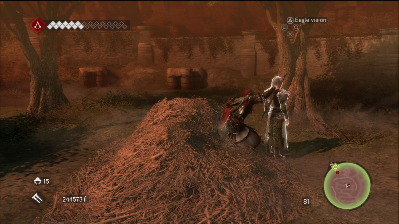 Assassin's Creed: Brotherhood PlayStation 3 Silent takedown from the haystack.
