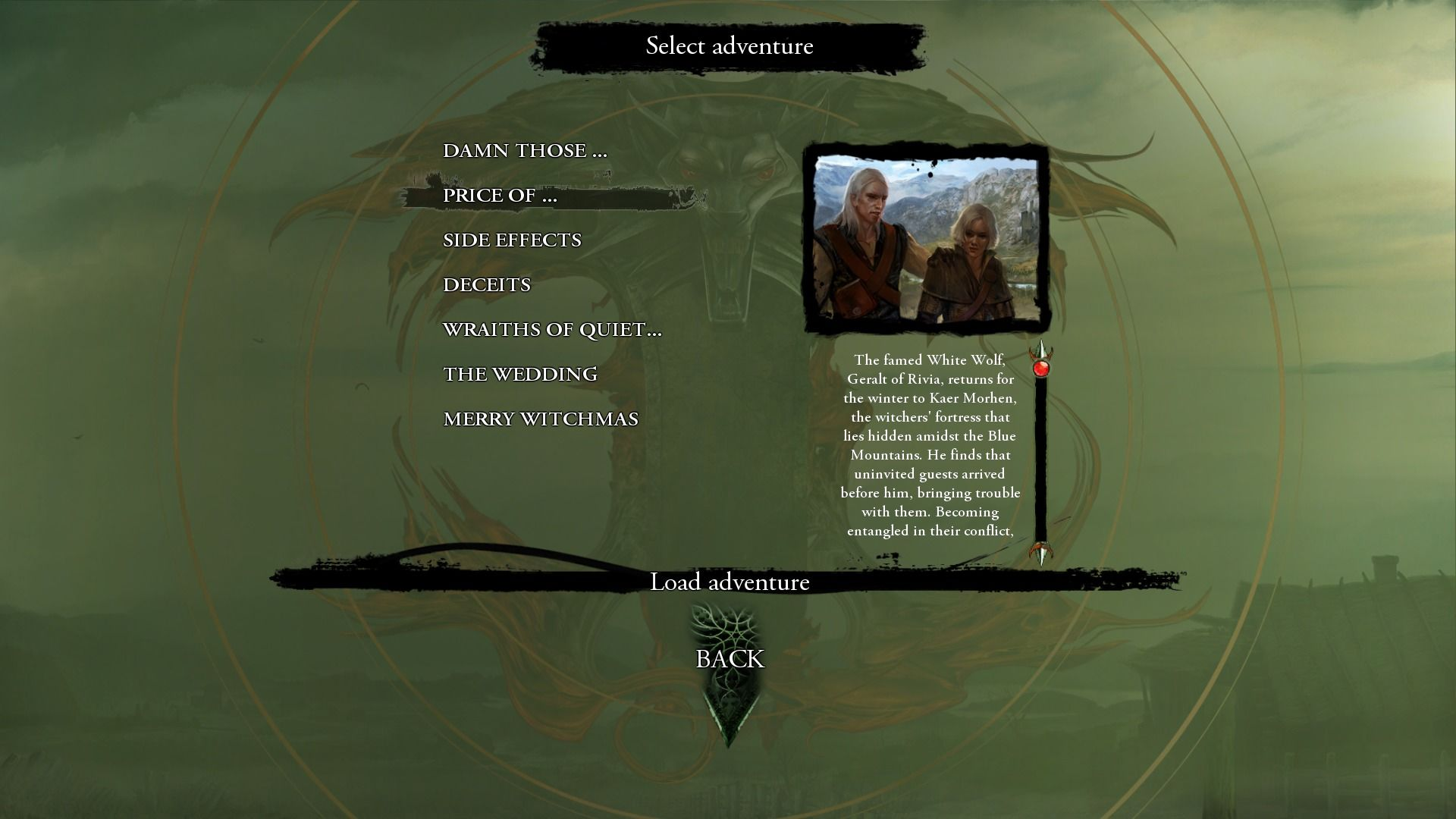 The Witcher: Enhanced Edition Windows Enhanced Edition features two new additional stories, Price of Neutrality and Side Effects, the rest are from v.1.5 patch.