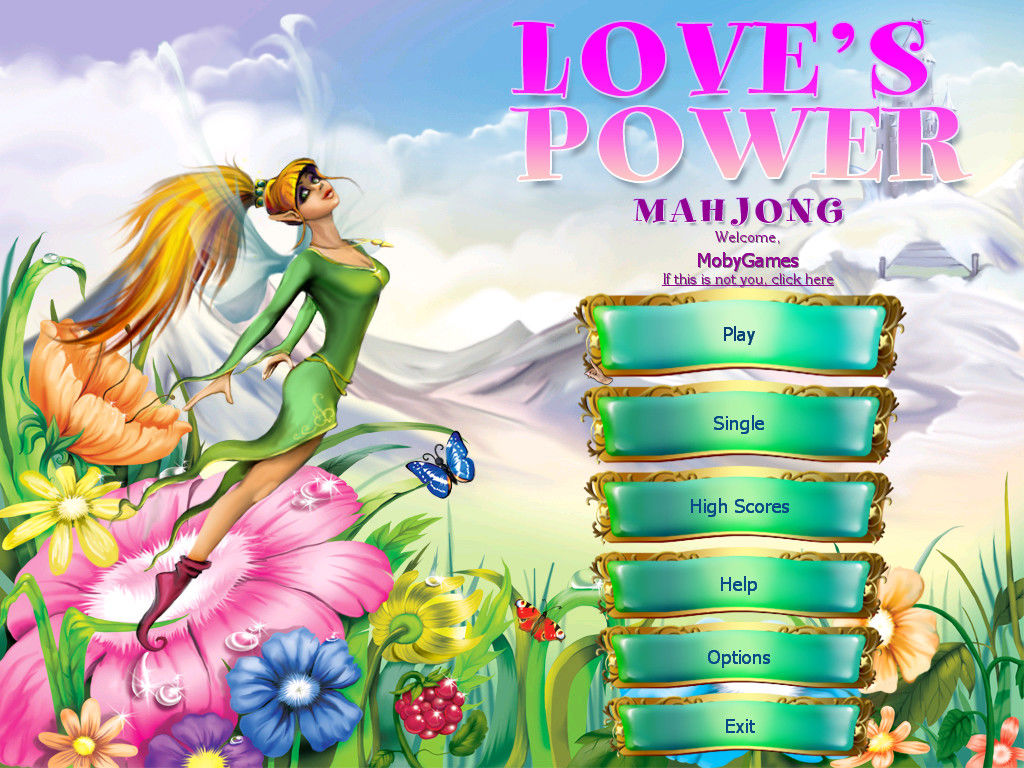 Love's Power Mahjong Windows Main menu