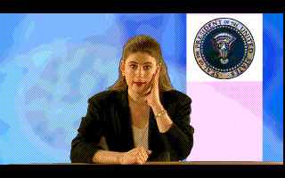 Jungle Strike DOS FMV Cutscene - A newscaster receives breaking news. (CD ROM Version)
