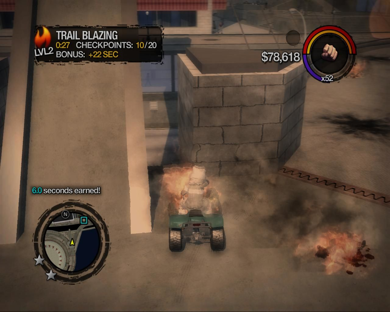 Saints Row 2 Windows Trailblazing is a mini game that involves driving around on a quad bike while on fire. There are checkpoints and extra time is gained by killing people and destroying cars.