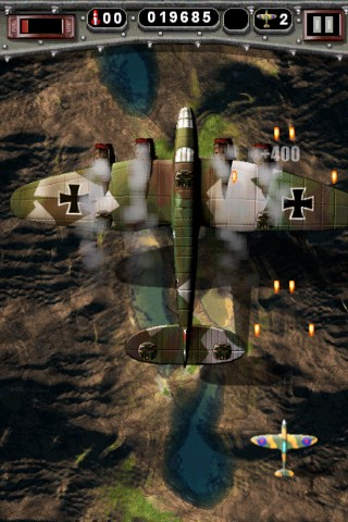 Mortal Skies: Modern War Air Combat Shooter iPhone Enemy Bomber - turrets gone take out engines and down she goes