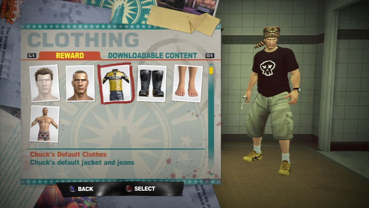Dead Rising 2 PlayStation 3 Use locker at the safe house to get your original outfit back.