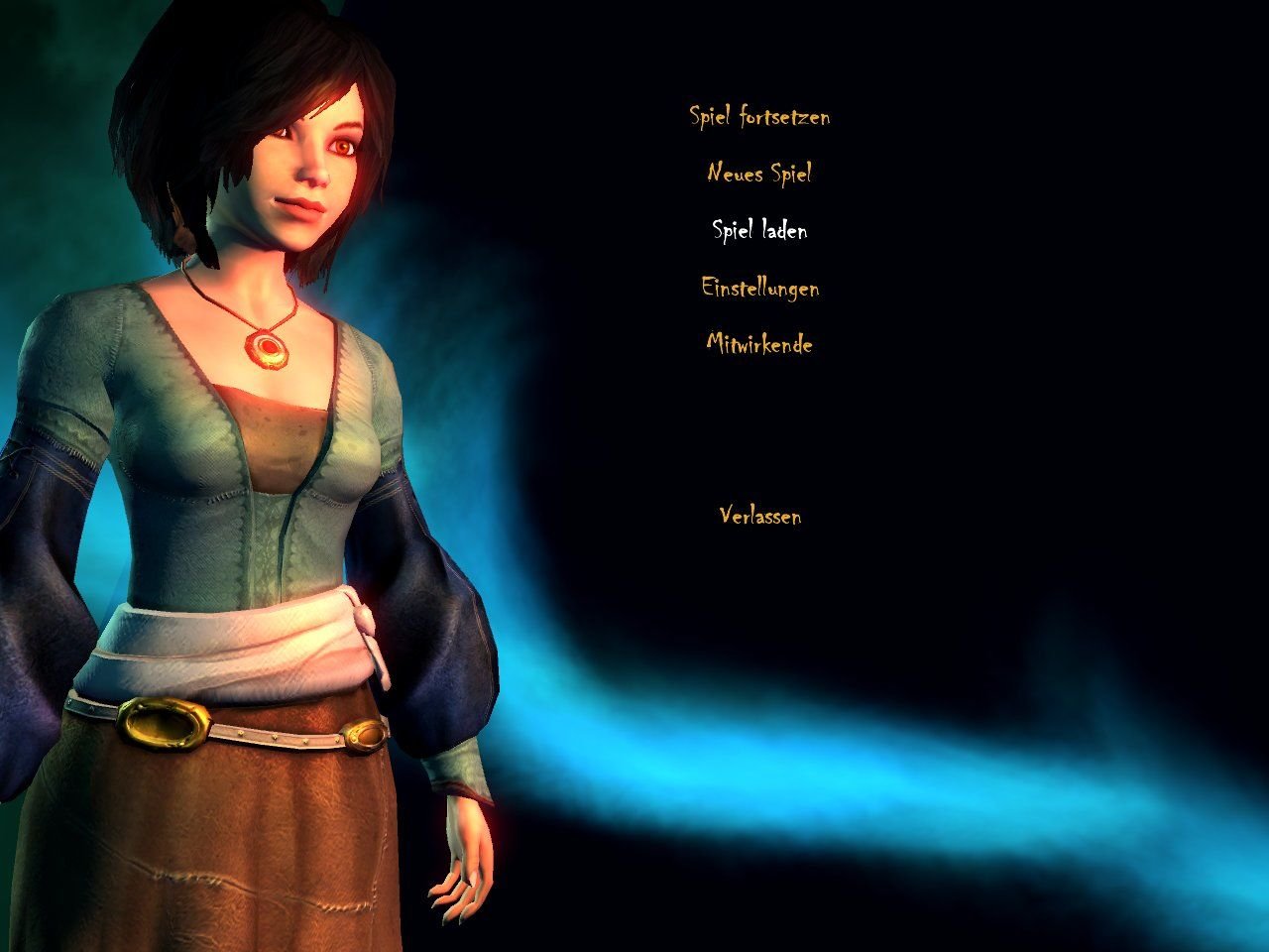 Haunted Windows Main menu at the start of the game, with protagonist Mary only.