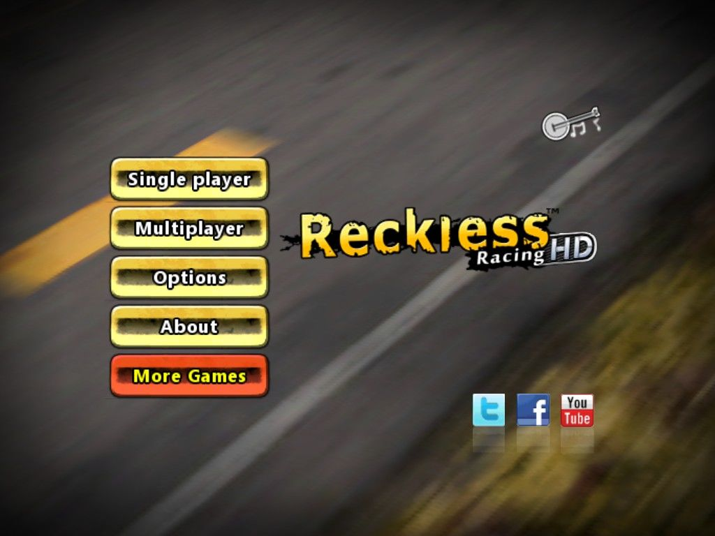 Reckless Racing iPad Main menu