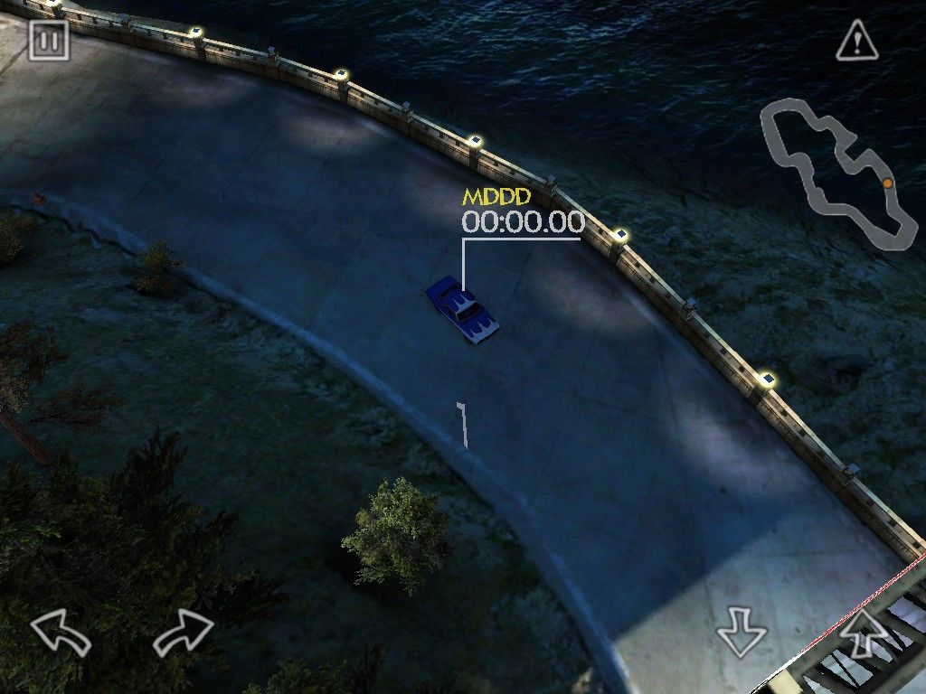 Reckless Racing iPad Hot lap on the island which is at night with dark corners
