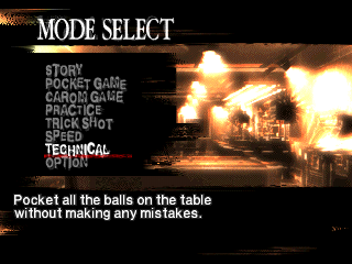 Backstreet Billiards PlayStation Game mode selection