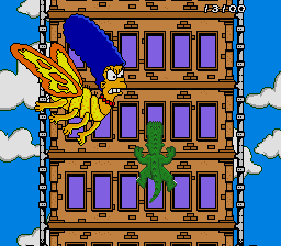 The Simpsons: Bart's Nightmare Genesis Bartzilla climbing a building, attacked by Marge moth