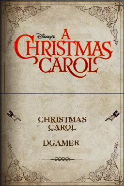 Disney's A Christmas Carol Nintendo DS Title screen. Would you like to go straight to the game or connect to the internet (DGamer)?