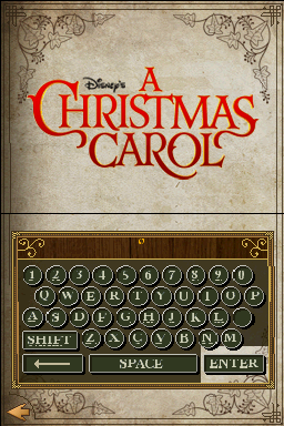 Disney's A Christmas Carol Nintendo DS Enter your name for the save slot