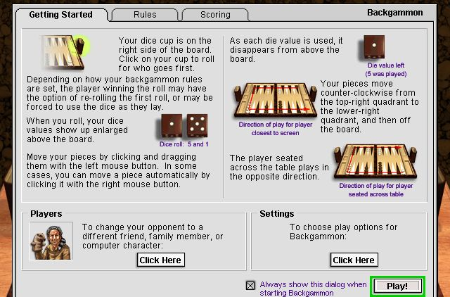 rules of backgammon for dummies