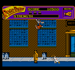 a weasel closes in on our heroes roger leaps to the top of the screen and hangs on - Who Framed Roger Rabbit Nes