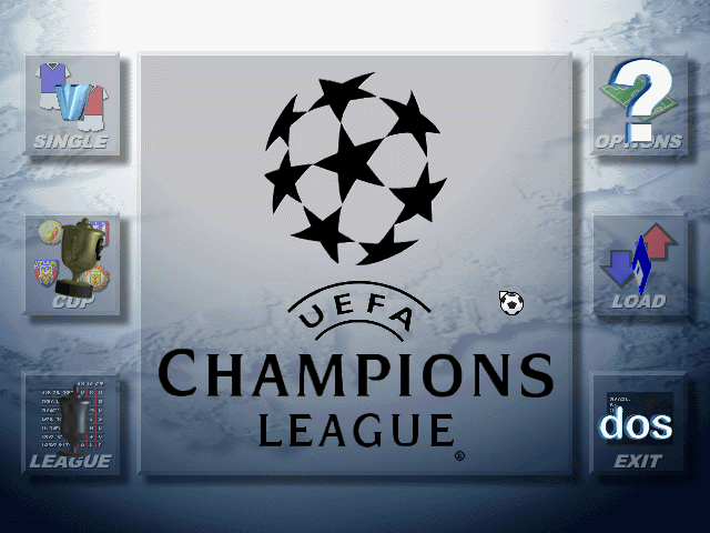 UEFA Champions League 1996/97 DOS Main Menu.