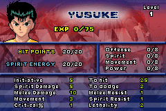 Yu Yu Hakusho: Ghost Files - Tournament Tactics Game Boy Advance Yusuke's statistics