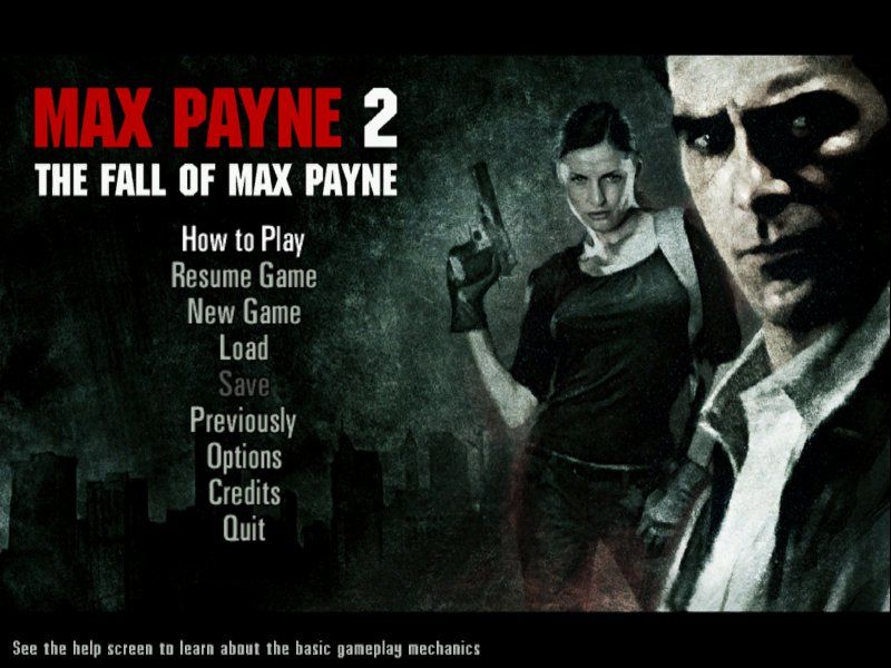 Max Payne 2: The Fall of Max Payne Windows The always present main menu shot, introducing Mona Sax as a co-protagonist.
