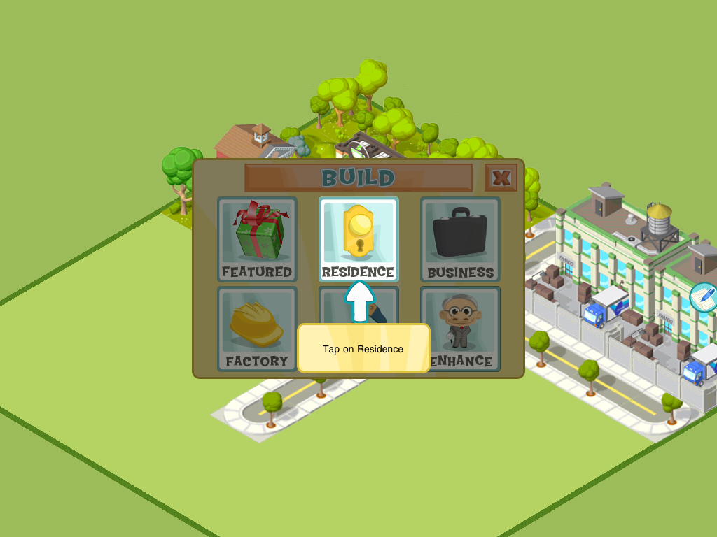 City Story iPad Main in-game menu