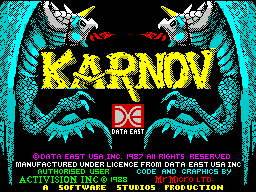 Karnov ZX Spectrum This is the game's title screen. It displays briefly at the start of the load sequence