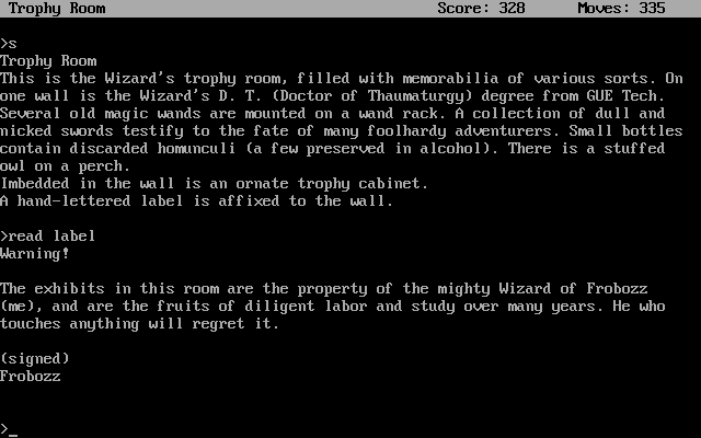 Zork II: The Wizard of Frobozz DOS The Wizard's trophy room - powerful magic prevents you from picking up anything in it. And there is a warning label about that.