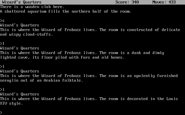 Zork II: The Wizard of Frobozz DOS The Wizard's quarters appear differently every time you look at them. There are 7 possible appearances.