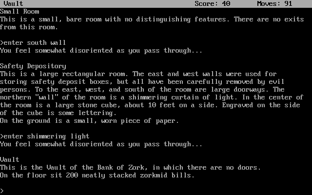 Zork II: The Wizard of Frobozz DOS Inside the Bank of Zork - one of the tougher puzzles in the game.