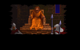 Ultima Underworld: The Stygian Abyss DOS Intro: the king blames you for the assault on his daughter...