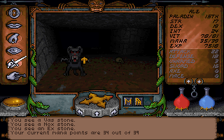 Ultima Underworld: The Stygian Abyss DOS Stats screen