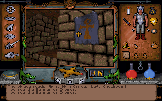 Ultima Underworld: The Stygian Abyss DOS These banners indicate friendly settlements in the abyss