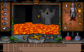 Ultima Underworld: The Stygian Abyss DOS Dragon boots allow you to walk over lava. Which comes in real handy on the final level