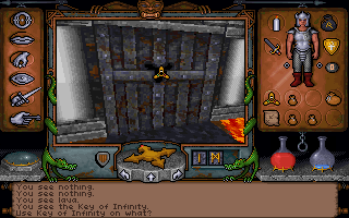 Ultima Underworld: The Stygian Abyss DOS Drag and drop from the inventory to the screen to use items...