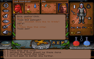 Ultima Underworld: The Stygian Abyss DOS Bartering with a Lizardman. Note their bizarre language. You can actually learn and translate what they are saying.