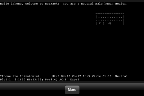 NetHack iPhone Welcome to the dungeon!  Now, what I really want to know is what phase the moon is in...