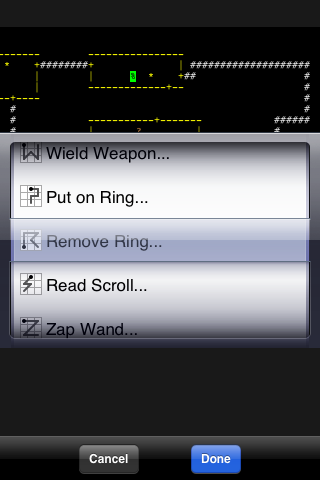 NetHack iPhone Gesture-based action menu