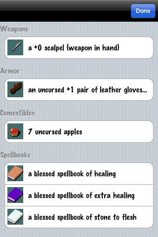 NetHack iPhone Inventory