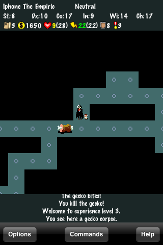 NetHack iPhone Heart-pumping character advancement