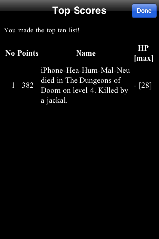 NetHack iPhone Truly I shall go down in the annals of history