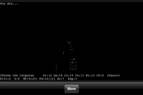 NetHack iPhone Another death in an unlit space