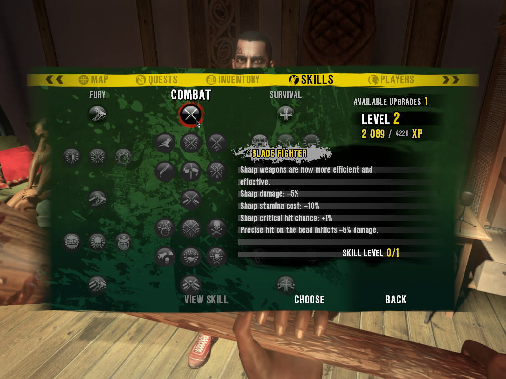 Dead Island Windows Level up screen. Choose how to upgrade your character